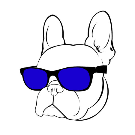 dog vector breed cute pet animal bulldog french Stock Illustratie