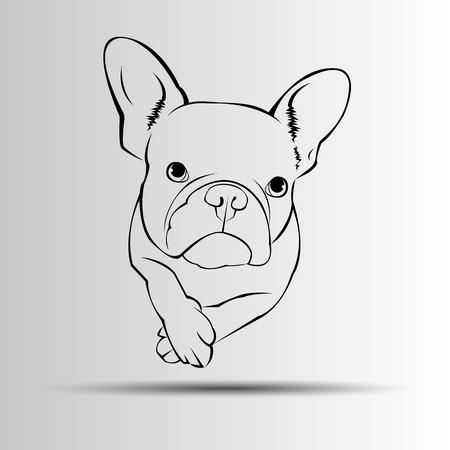 Cane vettore razza simpatico animale da compagnia bulldog francese Archivio Fotografico - 75361932