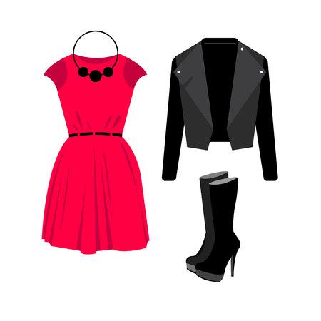 dress, vector, sunglasses, fashion, jacket, shirt, shoes, clothing, set, bag, collection