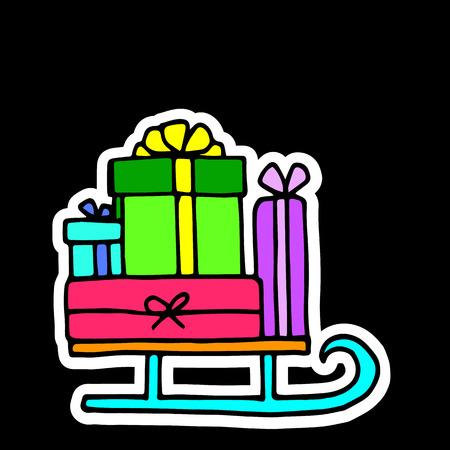 gift decoration celebration illustration holiday christmas sleigh santa winter Illustration