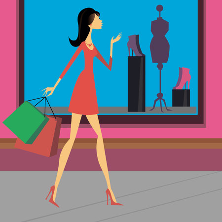 Girl store things the city shoes style Illustration