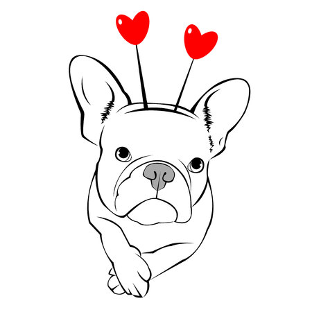 French Bulldog dog on a leash. pretty face. ears, tail Illustration