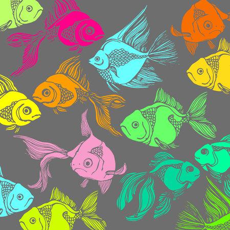 さまざまな種類の魚のシルエットのイラスト