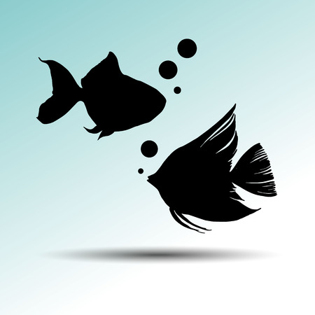 Illustration vector of different kinds of Fish Silhouette Illustration