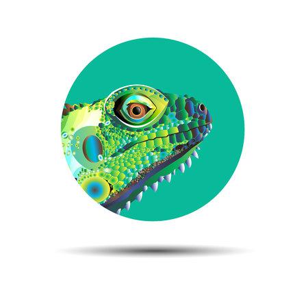 Chameleon cartoon character isolated on white background