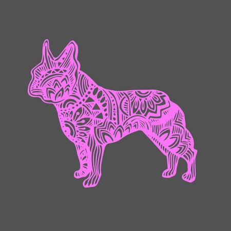 black haired: Dog, vector, breed, cute, pet, animal, bulldog, french