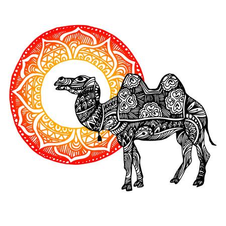 Egypt, camel, vector, desert, illustration, animal, nature, travel, sand Illustration