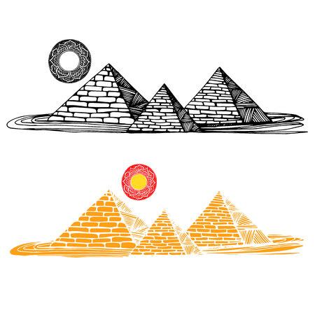 grave stone: egypt, vector, desert, egyptian, travel, africa, illustration, pyramid, ancient