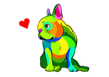 short haired: Colorful bulldog looking sideways