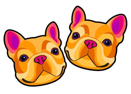 dog, vector, breed, cute, pet, animal, bulldog, french