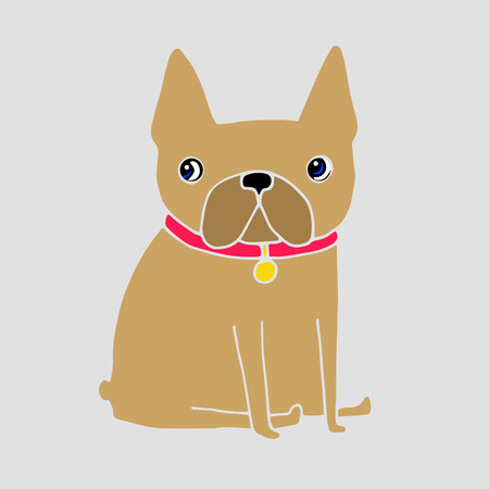 frenchie: French Bulldog dog on a leash. pretty face. ears, tail Illustration