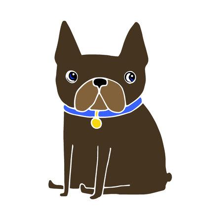French Bulldog dog on a leash. pretty face. ears, tail Illustration