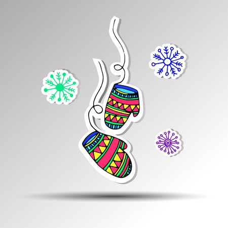 ski wear: vector illustration hand glove white winter design healthwear decoration Illustration