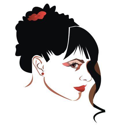 vector girl portrait beauty hair beautiful head