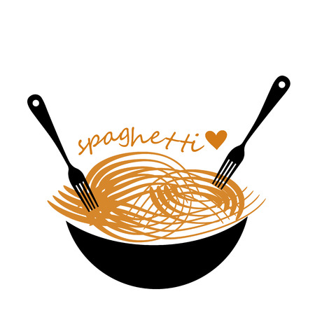 linearity: spaghetti vector food pasta fork meal illustration