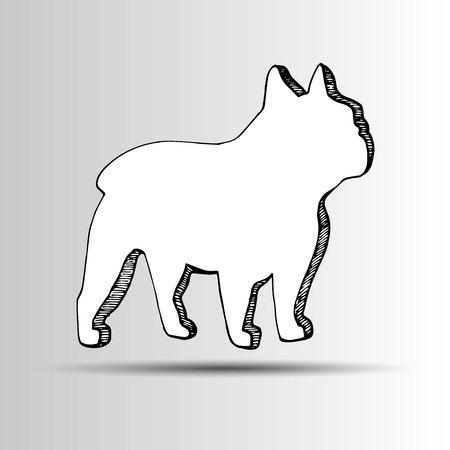 brown haired: dog vector breed cute pet animal bulldog Illustration