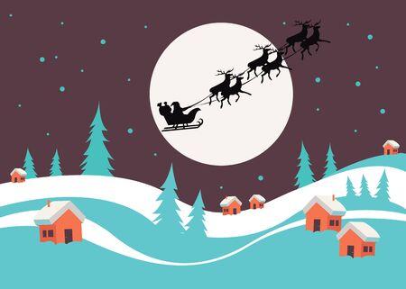 santa sleigh: winter animal celebration christmas illustration deer vector Illustration