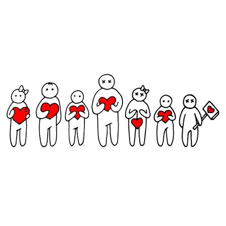 heart people person love vector happy family illustration male cartoon man