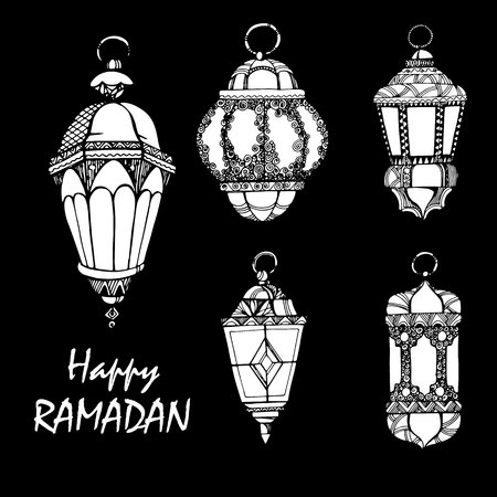 Illustration Ramadan Kareem Background with Lamps Fanoos , Crescents and Stars Vector illustration