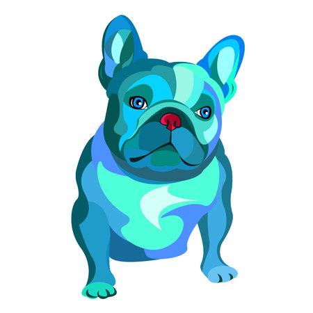 Sfondo bulldog francese. Illustrazione vettoriale. Cane, illustrazione, francese Archivio Fotografico - 78612751