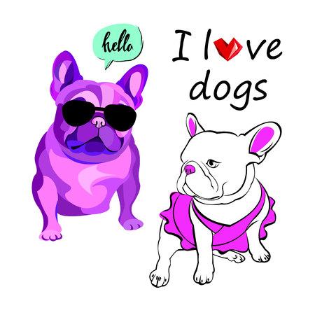 caras pintadas: French bulldog background. Vector illustration. Dog, illustration, french