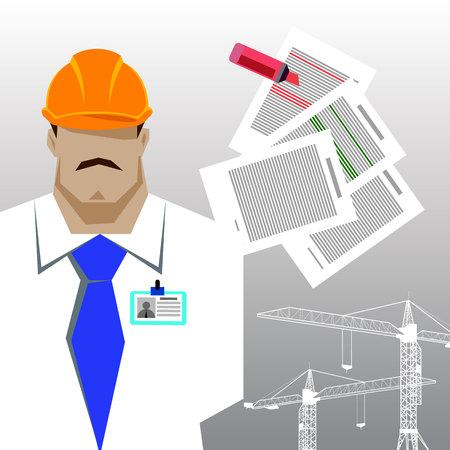 arquitecto caricatura: Repairs, Construction builder in yellow helmet working with different tools. Engineer. Worker. Flat design vector illustration.