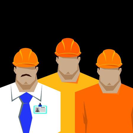 repairs: Repairs, Construction builder in yellow helmet working with different tools. Engineer. Worker. Flat design vector illustration.