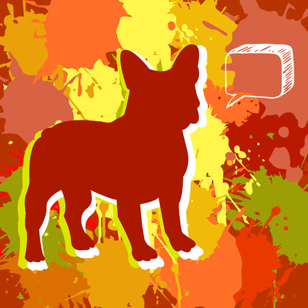 companion: bulldog, dog, animal, french, vector, illustration, pet, breed, cute, drawing