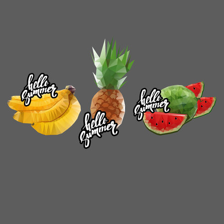 fruit platter with a lot of fruits. Vector illustration Stock Photo