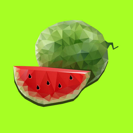 watermelon, slice, food, sweet, vector, illustration, summer, green, red