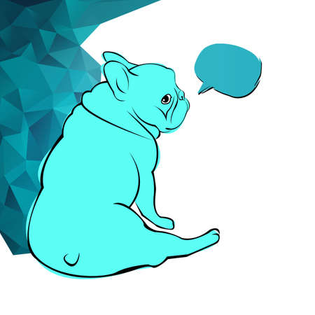 A cute bulldog, pet dog, animal, french breed, vector illustration.