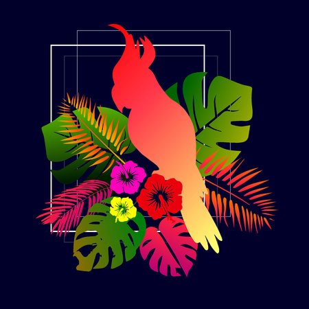 Red macaw parrots with green palm leaves and pink hibiscus flowers. Tropical illustration with birds and plants.
