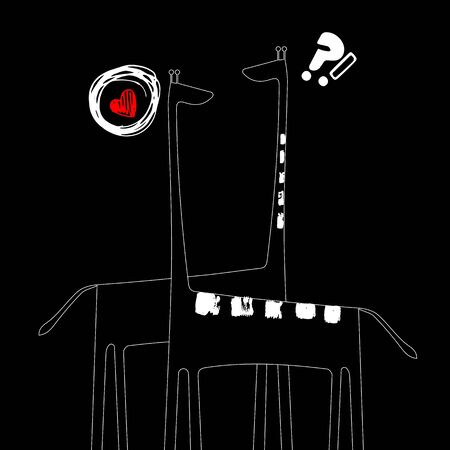 Giraffe, vector, animal, wild, african, tall, nature, safari, necked