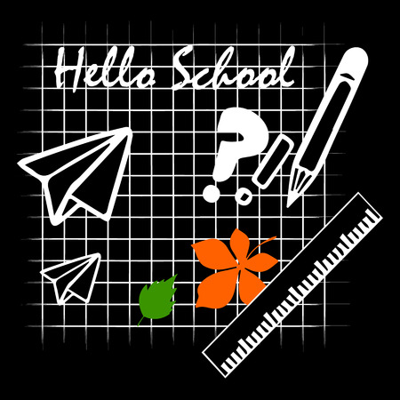 pen and marker: Back to school background with school supplies set, vector illustration. Illustration