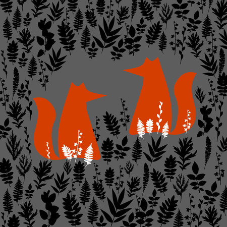 Fox, illustration, orange, wild, animal, cartoon, art, vector, wildlife