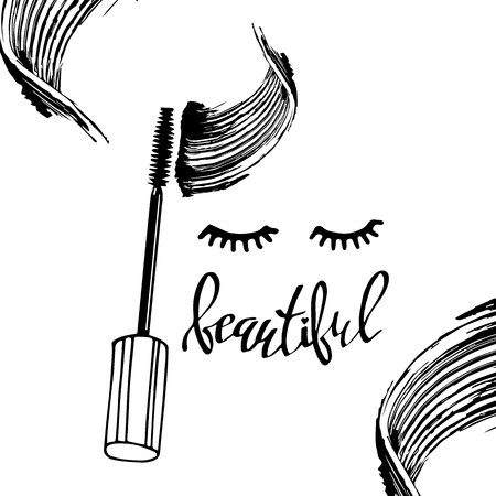 Mascara fashion banner, clear template for advertising or magazine page.