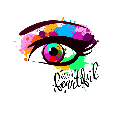 vector illustration eye human black eyeball look white eyesight vision see
