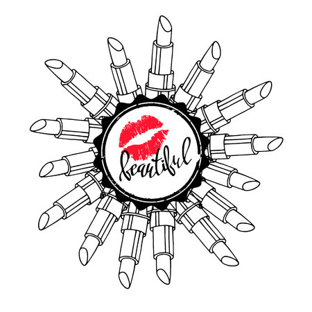 Fashion lipstick ads, trendy cosmetic design for advertisement 免版税图像 - 82517150
