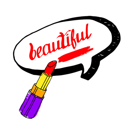 Fashion lipstick ads, trendy cosmetic design for advertisement illustration. Vectores