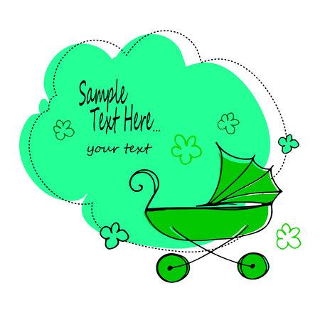 stroller, baby, illustration, carriage, vector, child, childhood, design, pram, buggy