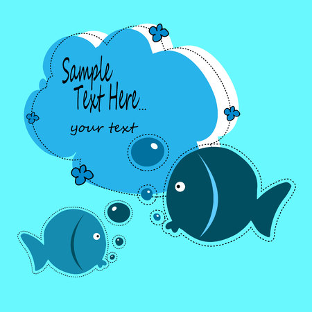 fish, illustration, baby, vector, animal, cartoon, cute, sea, water, design