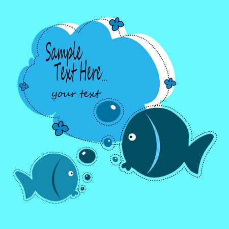 pez, ilustración, bebé, vector, animal, caricatura, lindo, mar, agua, diseño