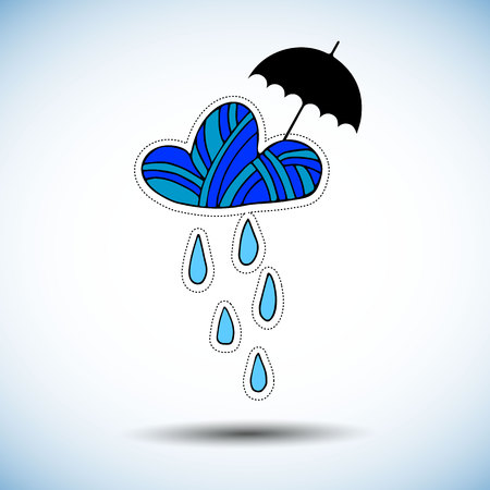 umbrella, rain, cloud, weather, vector, season, sky, illustration, nature, design
