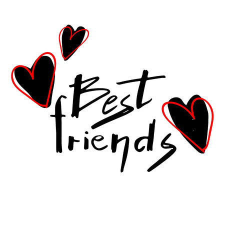 Best friends text with hearts. Illustration