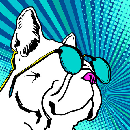 Bulldog with sunglasses vector illustration.