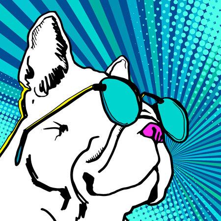 Bulldogge mit Sonnenbrille Vektor-Illustration. Vektorgrafik