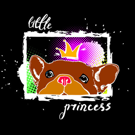 Little princess dog vector illustration. Illustration