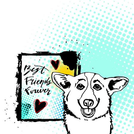Dog best friend forever vector illustration. Illustration