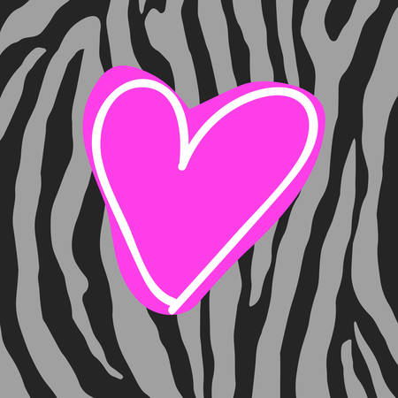 flirting: Animal pattern with heart vector illustration. Illustration