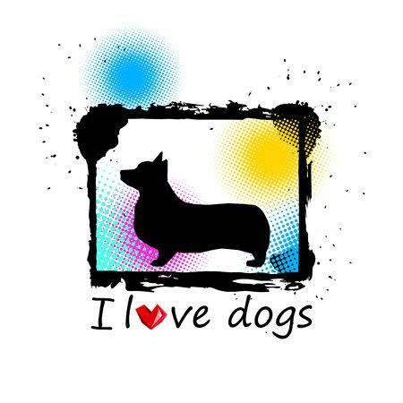 I love dogs vector illustration.